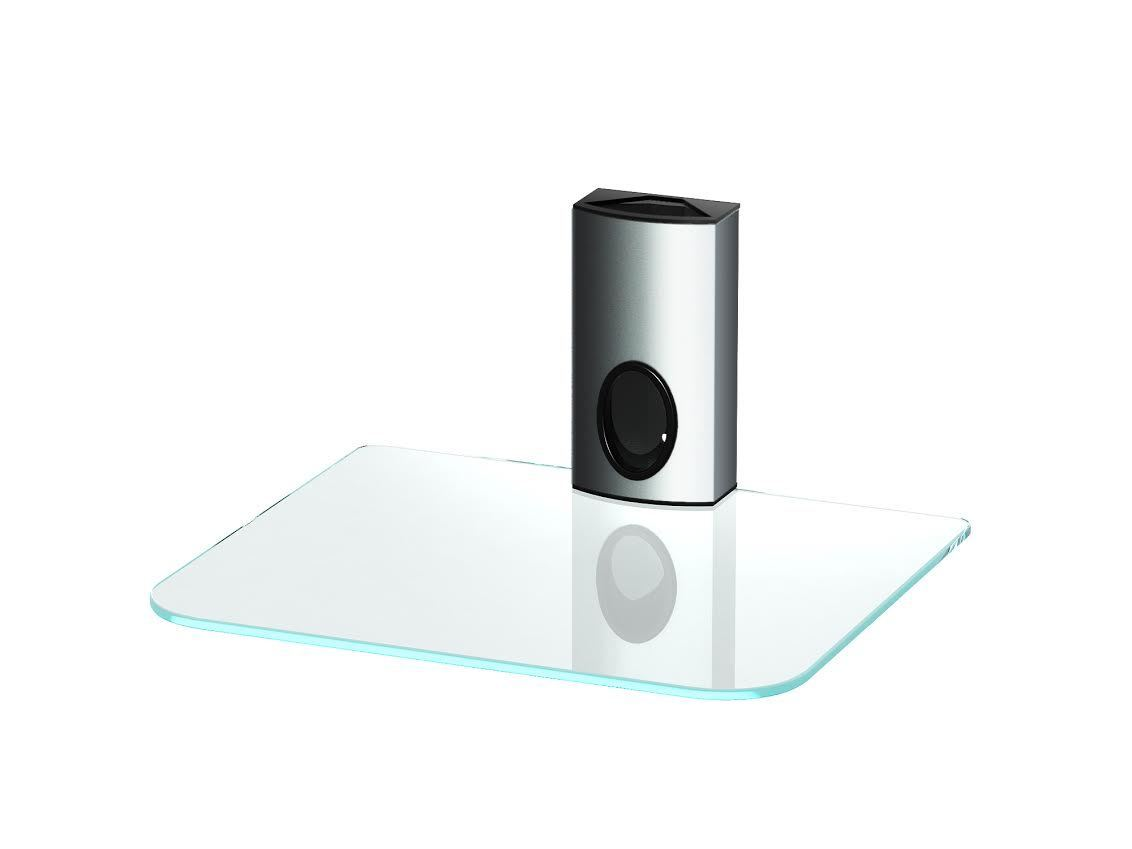Silver Clear Glass Single Shelf Dvd Bracket For Sky Box Mount