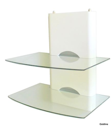 White Wooden 2 Shelf Clear Glass DVD Bracket