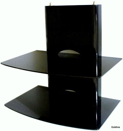 Black Wooden DVD Bracket with 2 Black Glass Shelves