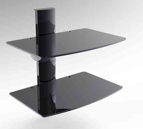 2 Shelves Black Glass DVD Wall Bracket