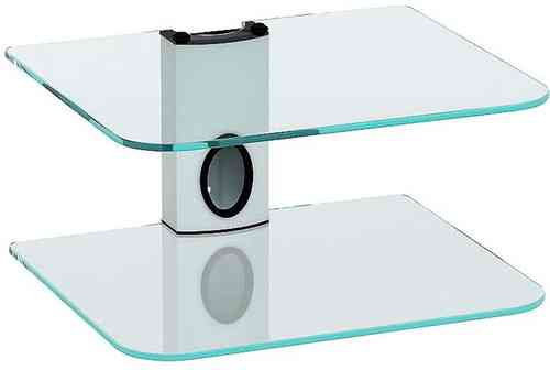 White DVD Mount Clear Glass 2 Shelf DVD Bracket