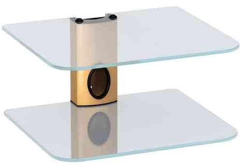 Gold DVD Mount Clear Glass 2 Shelf DVD Bracket
