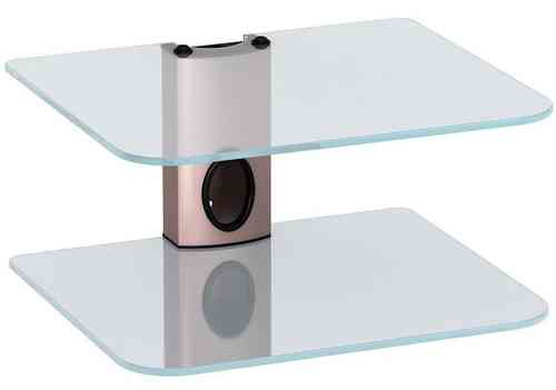 Sky Box DVD Mount Clear Glass 2 Shelf Copper column