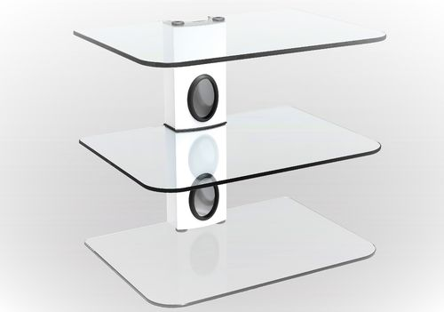 Sky Box DVD Mount Clear Glass 3 Shelf White column