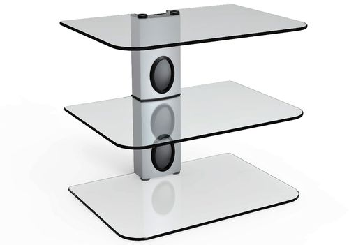 Sky Box DVD Mount Clear Glass 3 Shelf Silver column