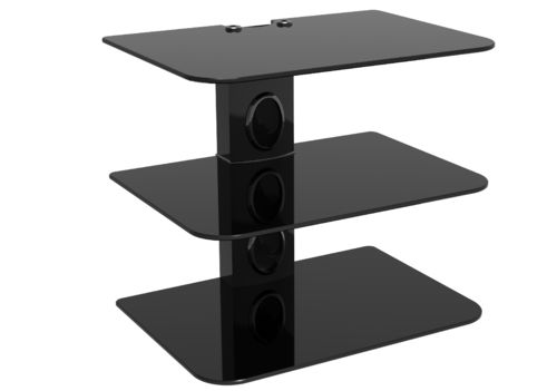 Sky Box DVD Mount Black Glass 3 Shelf Black column